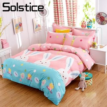Solstice Home Textile Pink Girl Bedding Sets Bunny Carrot Kid Teen Linen Duvet Cover Bed Sheet Pillowcase King Queen Twin 3/4Pcs