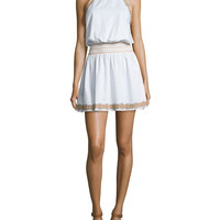 Bridget Embroidered Blouson Dress, New Ivory/Yellow