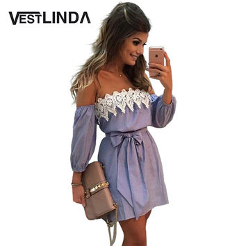 VESTLINDA Off Shoulder Blue Striped White Applique Mini Dress Women Slash Neck Lantern Sleeve Casual Sexy Short Dress With Belt