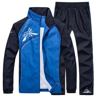 Men Sportswear Spring Windproof Gym Sport Suit 2017 New Printing Pattern Breathable Fabric Tracksuit Jogger Jogging Running Sets