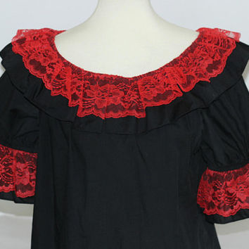Red and Black Ladies Square Dance Blouse Small | Scoop Neck with Elbow Length Sleeves | Black Top with Red Lace Collar & Sleeve Overlay