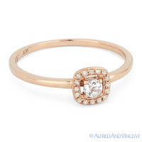 0.15 ct Round Cut White Topaz Gemstone & Diamond Halo 14k Rose Gold Promise Ring