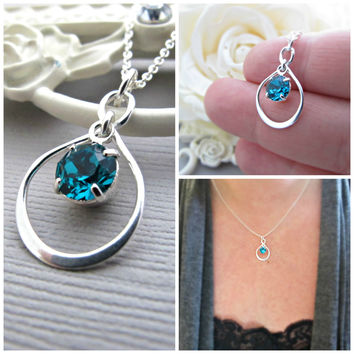 Mother of the Bride gift, Mother of Groom gift, Jewelry for MOM, Infinity necklace, Blue Zircon Birthstone, December Birthday, mother's gift