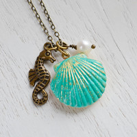 SeaShell Locket Pendant,Patina Jewelry,Patina Mermaids SeaShell Locket,Sea Horse Necklace,Locket Necklace,Ocean Inspired,Nautical,Pearl Clam