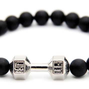 Top quality crossfit Fit life dumbbell beaded bracelet pulseira masculina