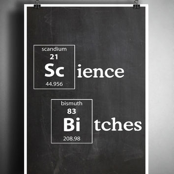 Periodic table art, Science art, Nerdy art, geeky art print, Science Bitches