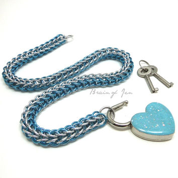 Chainmail Slave Collar Aqua and Silver with Sparkly Tiffany Blue Heart Shaped Padlock