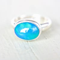 Blue Opal Ring Sterling Silver Natural Ethiopian Opal Ring Size 5-6 Silversmithed October Birthstone Ring