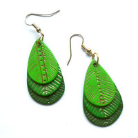 Polymer clay fashion earrings ombre light green to forest green leaf shaped leaves dangle earrings
