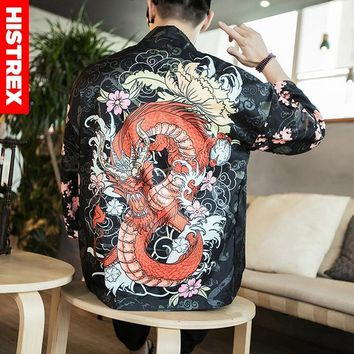 Trendy HISTREX Men Japanese Kimono 3D Print Chinese Dragon Coat Shirt Man Summer Funny Harajuku Shirts Style Jackets Hawaii Shirts 5XL AT_94_13
