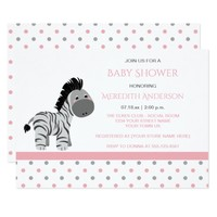 Pink and Gray Zebra Baby Girl Shower Invitations