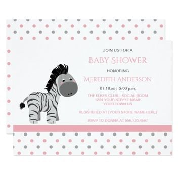 Best pink zebra invitations products on wanelo pink and gray zebra baby girl shower invitations filmwisefo