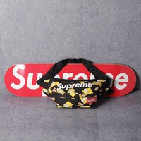 """Supreme"" Unisex Casual Fashion Cartoon Simpsons Print Letter Zip Waist Bag Couple Waterproof Single Shoulder Messenger Bag"