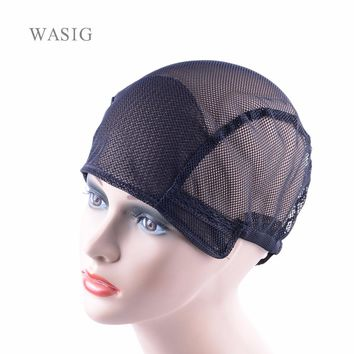 1Pcs Free Shipping black full lace wig caps for making wigs Free Size wig net cap weaving caps with adjustable straps back