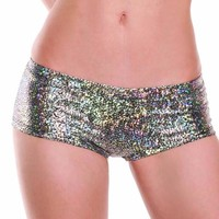 Silver Metallic Shattered Glass Boy Booty Shorts