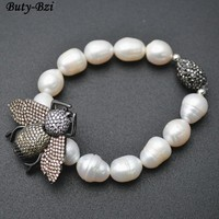 Outstanding Paved CZ Metal Bee Insect Charm Natural Fresh Water Pearl Potato Beads Stretch Bracelets Party Jewelry