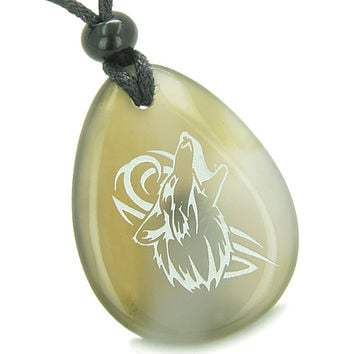 Amulet Courage and Protection Howling Wolf Good Luck Powers Agate Pendant Necklace