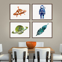 Space Art, Space Print, Set of 4 Prints, Space Wall Decor, UFO, Astronaut, Saturn, Rocket, Space Watercolor, Boys Room Decor, Kids Room