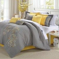 Queen size 8 Piece Comforter Set Floral Tree of Life Modern Grey Yellow