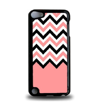 Coral Black White Chevron iPod Touch 5 Case - For iPod Touch 5/5G - Designer Plastic Snap On Case