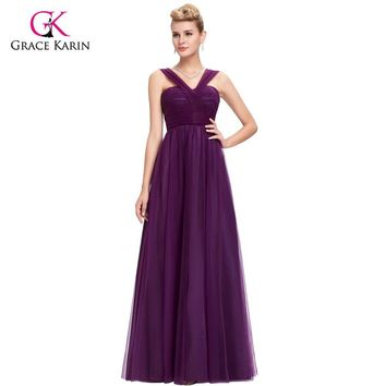 Bridesmaid Dress 2017 Grace Karin V-Neck Tulle Backless cheap prom dresses under $50 Long Purple Bridesmaid dresses