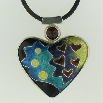 Cloisonné Enamel Handmade Pendant with Garnet set in Sterling Silver