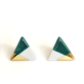 modern triangle studs in teal