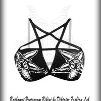 Pentagram Bikini Bra BW Baphomet Top Heavy Metal Clothing Sexy Satan Bralette Occult Goth Harness  Inverted Black Star White Print Costume