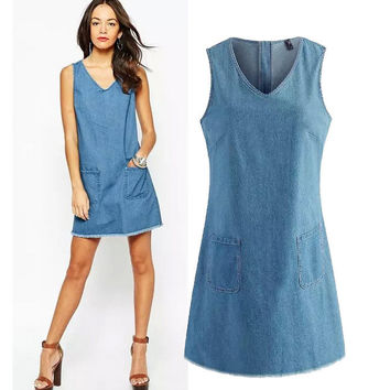 Stylish V-neck Sleeveless With Pocket Denim Women's Fashion One Piece Dress [5013269572]