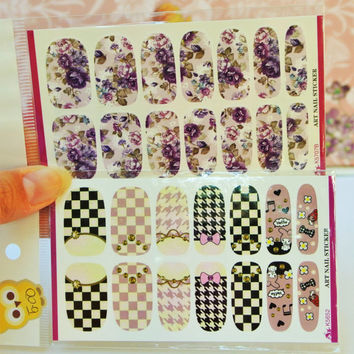 2 Packs Purple Floral nail wrap, Checkered Nail Art, Houndstooth Nail Decoration, water decals, Roses, Nails, Pink Nail Art, Nail wrap, Nail