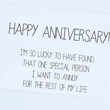 Funny Anniversary Card, Happy Anniversary From Him or Her, Silly, Funny Card