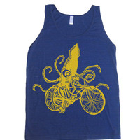 Men Unisex SQUID Racing On Schwinn Bikes Tri-Blend Tank - American Apparel tanktop - XS S M L XL (8 Color Options)