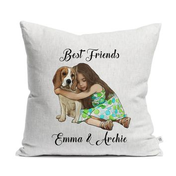 Custom Illustrated Baby & Pet Linen Throw Pillow by Tote Tails