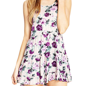 Spaghetti Strap Floral Pattern Mini Backless Dress