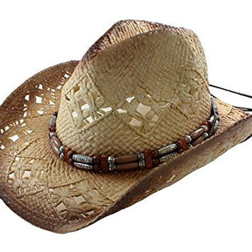 Tea Stained Western Cowboy Hat w/ Orange & Silvery Beaded Band