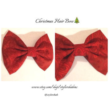 Christmas Hair Bow Clip. Wear with braids and buns for Christmas. Dark Red with ornate designs.