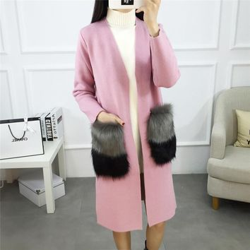 Women Cardigan New Autumn Female Cashmere Cardigan Long Sweater V-Neck Knit Shirt Slim Version Big Yards coat faux fox fur Y3193