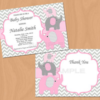 Girl Baby Shower Invitation Elephant Baby Shower Invitation Baby Girl Shower Invitation Baby Shower Invite Pink (50-1a)- Free Thank You Card
