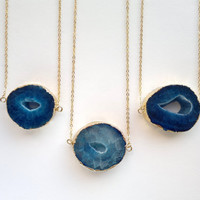 Blue Druzy Necklace Agate Necklace Druzy Pendant Gold Edge Agate Slice Jewelry Gold Dipped Jewerly Mineral Necklace Drusy Semiprecious Stone