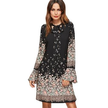 Floral Print Tie Neck Long Flare Sleeve Casual A Line Dress