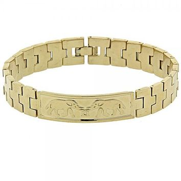Gold Layered 5.033.002 ID Bracelet, Elephant Design, Diamond Cutting Finish, Golden Tone