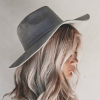 Down Time Gray Suede Hat