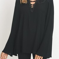 Lace Up V-neck Top with Long Bell Sleeve