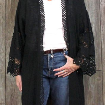 New XCVI XL size Coverup Wrap Black Embroidered Open Front Womens Lightweight $115