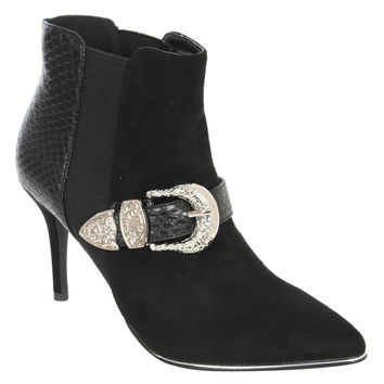 Ivana Reptile And Buckle Detail Faux Suede Ankle Boots in Black