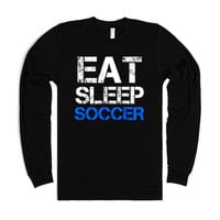 Eat Sleep Soccer long sleeve black tee t shirt