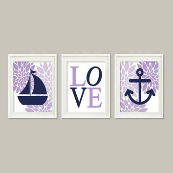 Nursery Wall Art Nautical Floral Lilac Lavender Navy Wall Art Anchor Sailboat Love Set of 3 Prints Baby Girl Nursery Bathroom Bedroom Decor