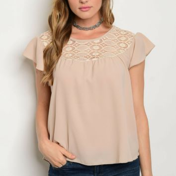 Enchanted Nude Lace Blouse