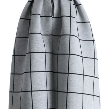 Grid Print Pleated Midi Skirt