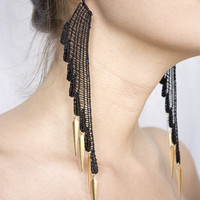 Lace earrings - Dark Angel - Black and gold